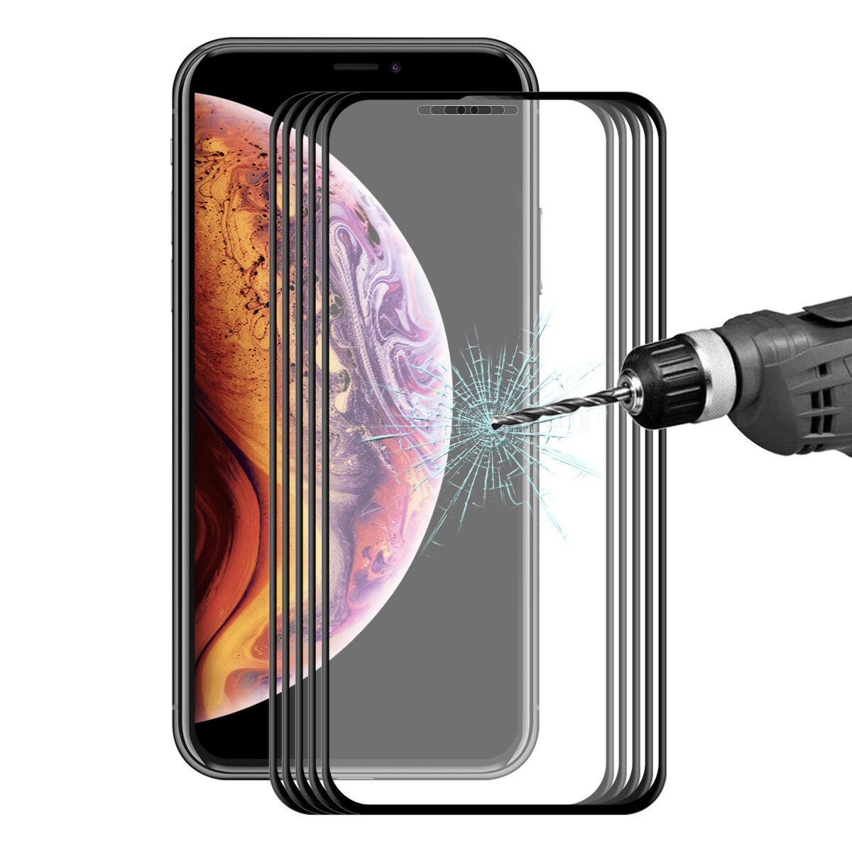 5 Packs Bakeey Screen Protector For iPhone XS Max 3D Soft Edge Carbon Fiber Tempered Glass Film