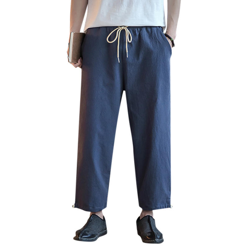c2e9441c0fd Men s Cotton Linen Loose Comfy Elastic Waist Vintage Pure Color Casual Long  Pants COD