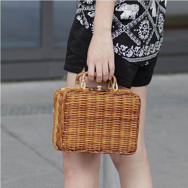 المرأة خمر اليدوية الخيزران القش القش حقيبة يد صندوق تخزين حقيبة الأمتعة