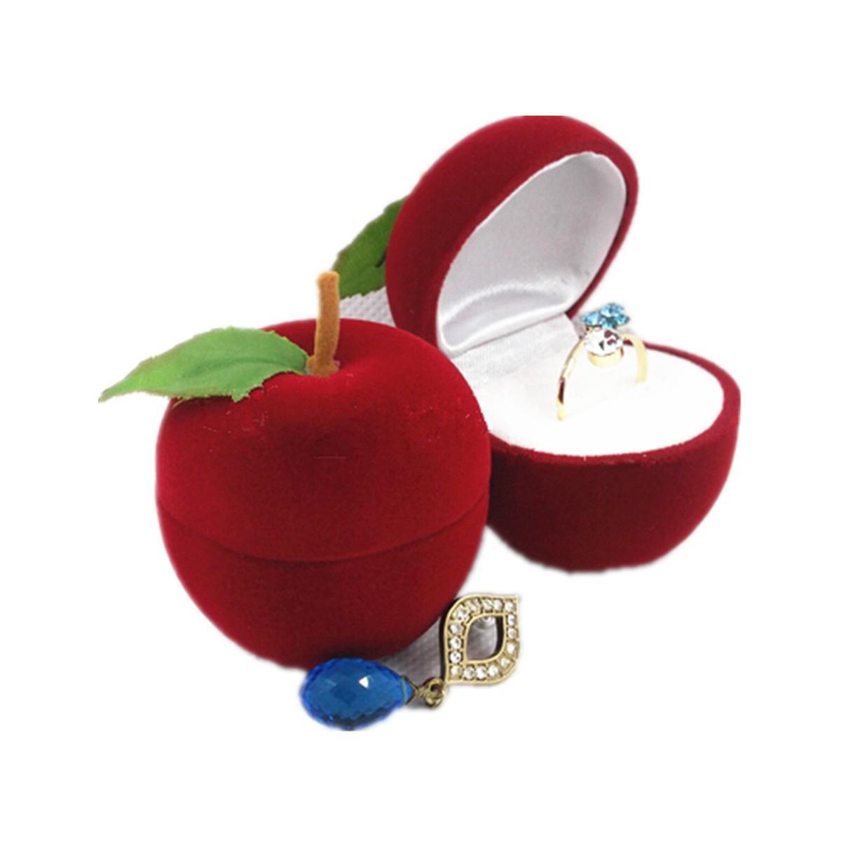 Velvet Apple Shape Ring Earrings Jewelry Display Storage Box