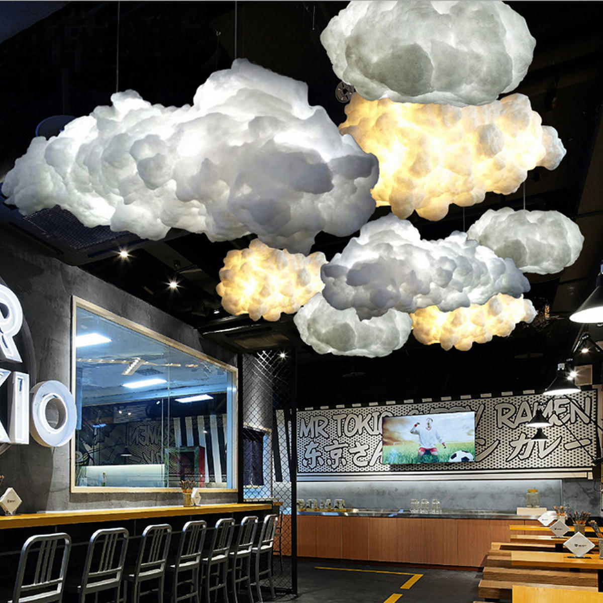 White floating cloud pendant light restaurant bar lamp fixture for indoor lighting decoration cod
