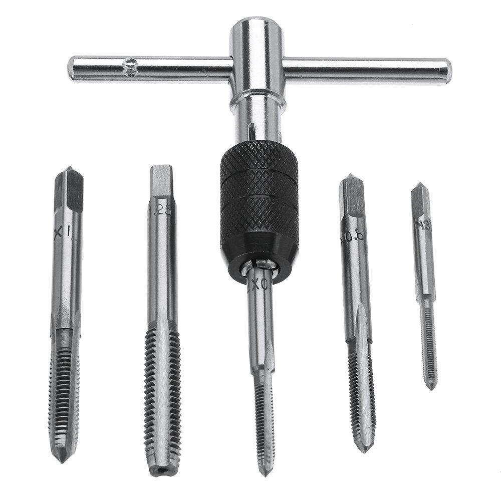 6pcs M3-M8 Tap Trapano Set T Handle Cricchetto Tap strappo Machinist Tool Con Vite Tap Hand