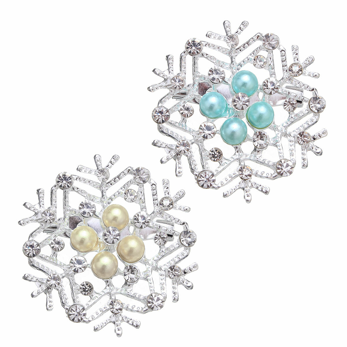 Christmas Gift Simple Pearl Rhinestone Multicolor Snowflake Brooches