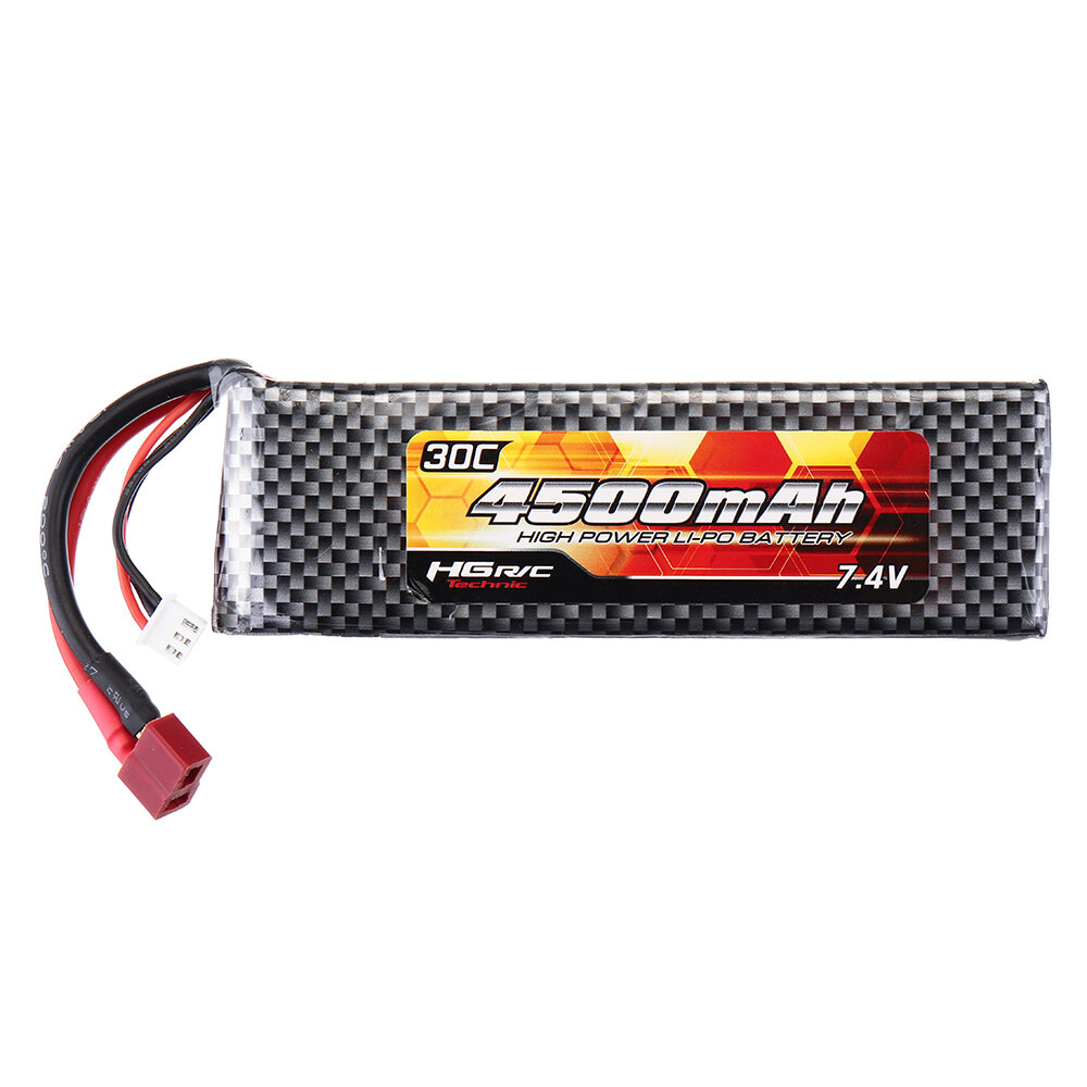 HG 7.4V 4500mAh 30C 2S Lipo Battery T Plug for P402 P407 P601 P801 P802 1/10 1/12 Rc Car Parts QDBZ1001