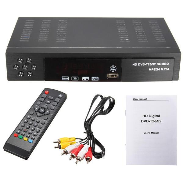 Full HD 1080p combinado DVB-T2 S2 la difusión de vídeo receptor de satélite HDTV caja de la TV