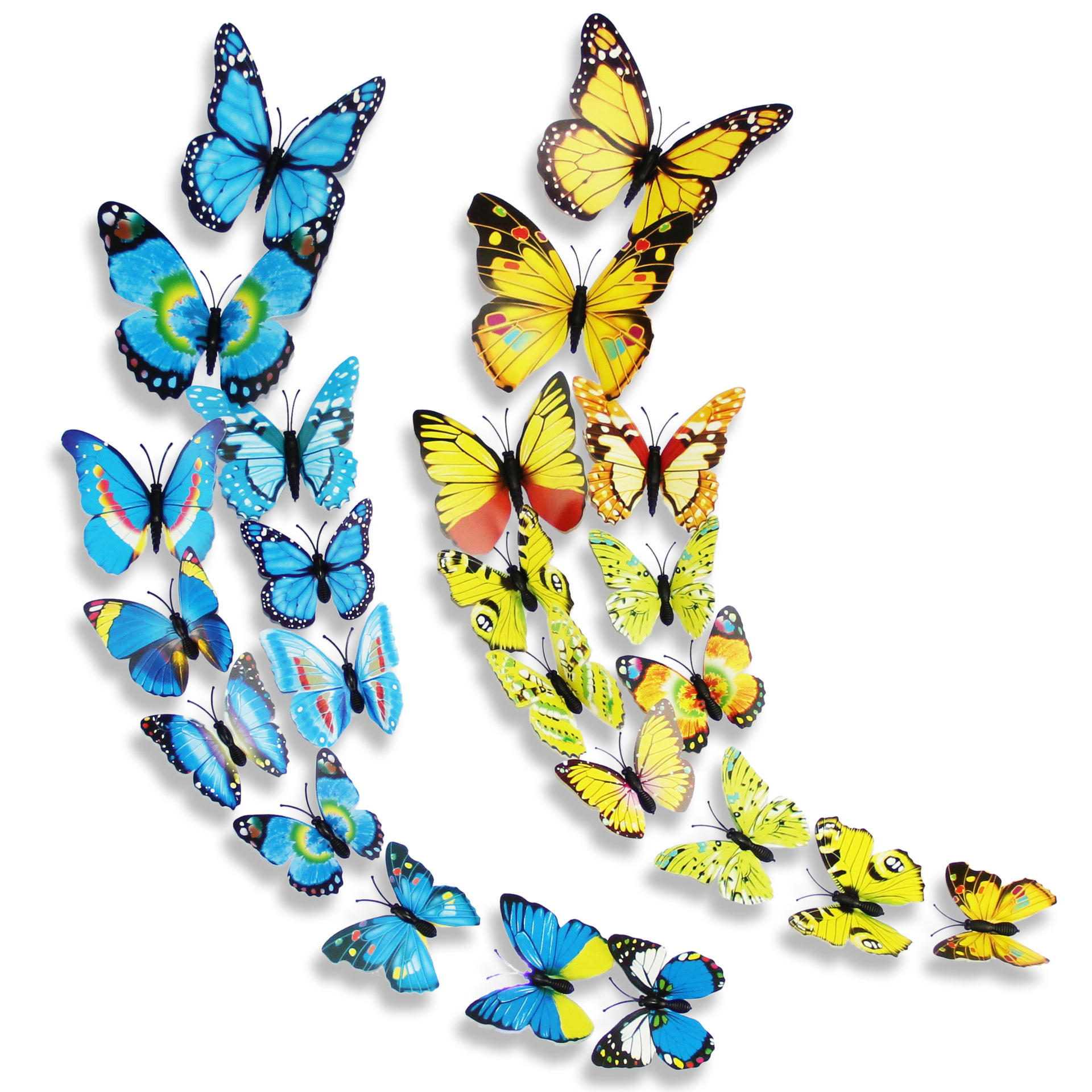 12 Pcs PVC Butterfly Double Deck 3D Wall Stickers Home Decor Adhesive Decoration COD