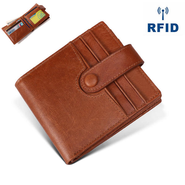 RFID Antimagnético Piel Genuina 12 Ranuras para tarjetas Monedero Titular de la tarjeta para los hombres