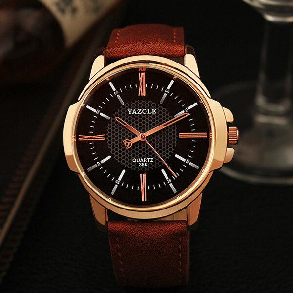8a1e01224af YAZOLE 358 Moda Relógio de Pulso Masculino de Quartzo Luxo Romano Numeral