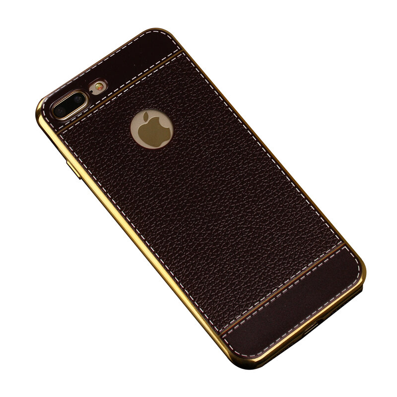 Bakeey ™ Litchi Grain Plating TPU Silicone Ultra Dunne Schokvaste Cover Case voor iPhone 7Plus 5,5 inch