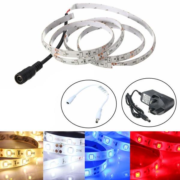 1M กันน้ำ SMD 3528 60 LED ไฟสปอตไลแบบยืดหยุ่น + ปลั๊กไฟแบบเสียบปลั๊ก 12V UK + Dimmer