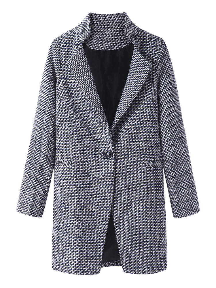 Houndstooth Tweed Wool Long Sleeve Women Trench Coat Jackets