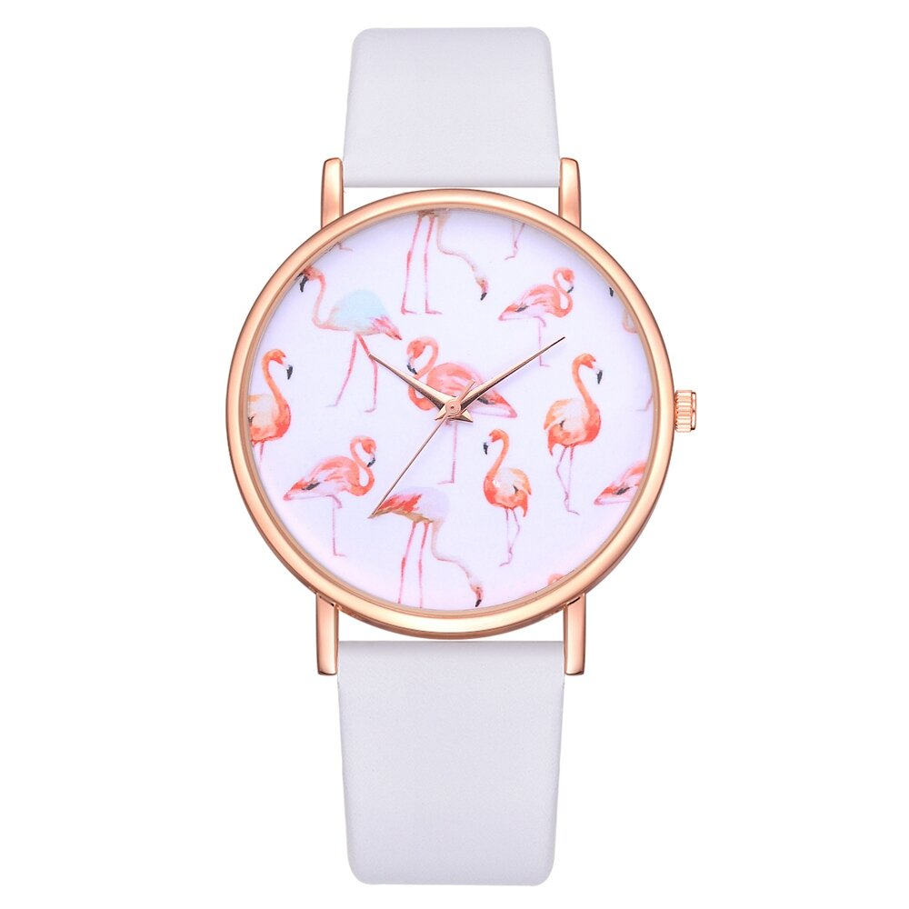 Rose Gold Case Flamingo Women Wrist Watch Leather Strap Casual Quartz Watches