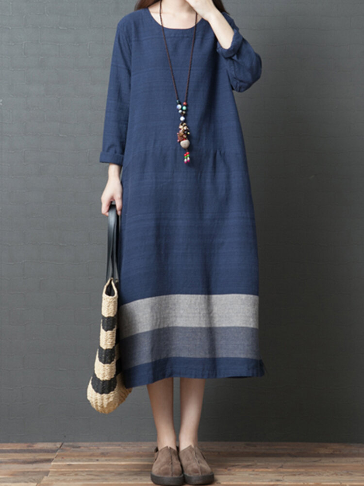 651b5e0d57c Vintage Women Loose Cotton Linen Striped Patchwork Long Sleeve Dress COD