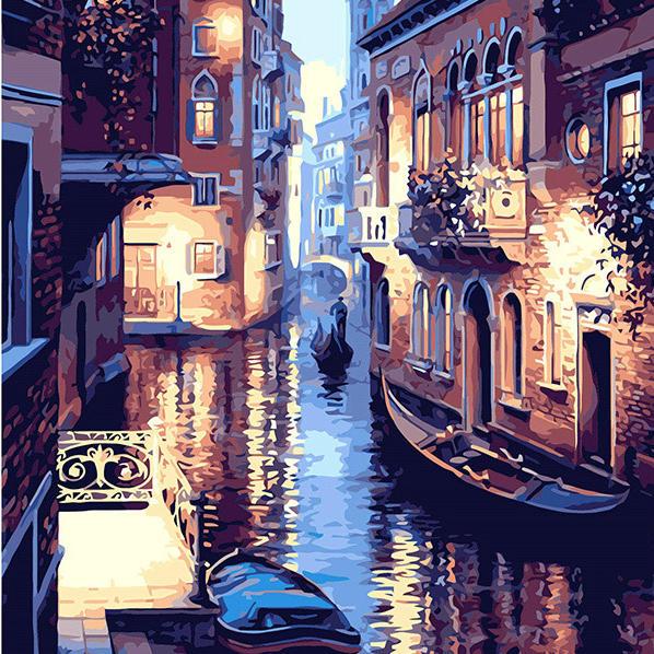 Crafts Art Supplies Puesta De Sol En Venecia Paisaje Pintura Digital De Diy Por Números En La Lona,