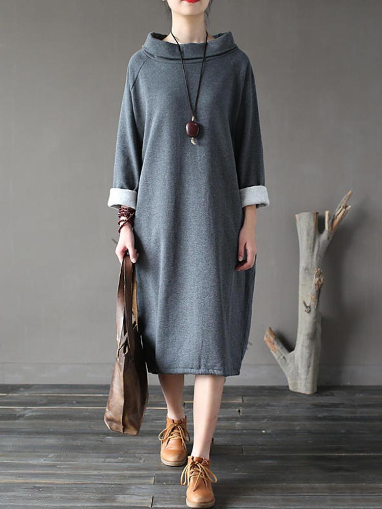 Plus Taille Robe à manches longues de couleur unie à poils fins