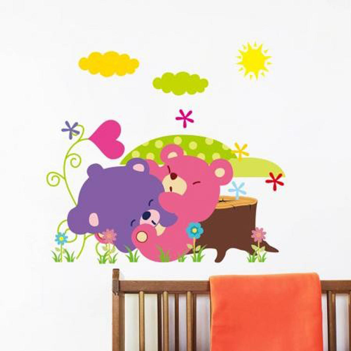 Baby Kids Room Cute Cartoon Jungle Animals DIY Removable Wall Sticker Decal  Kid Nursery Home Art Decoration COD