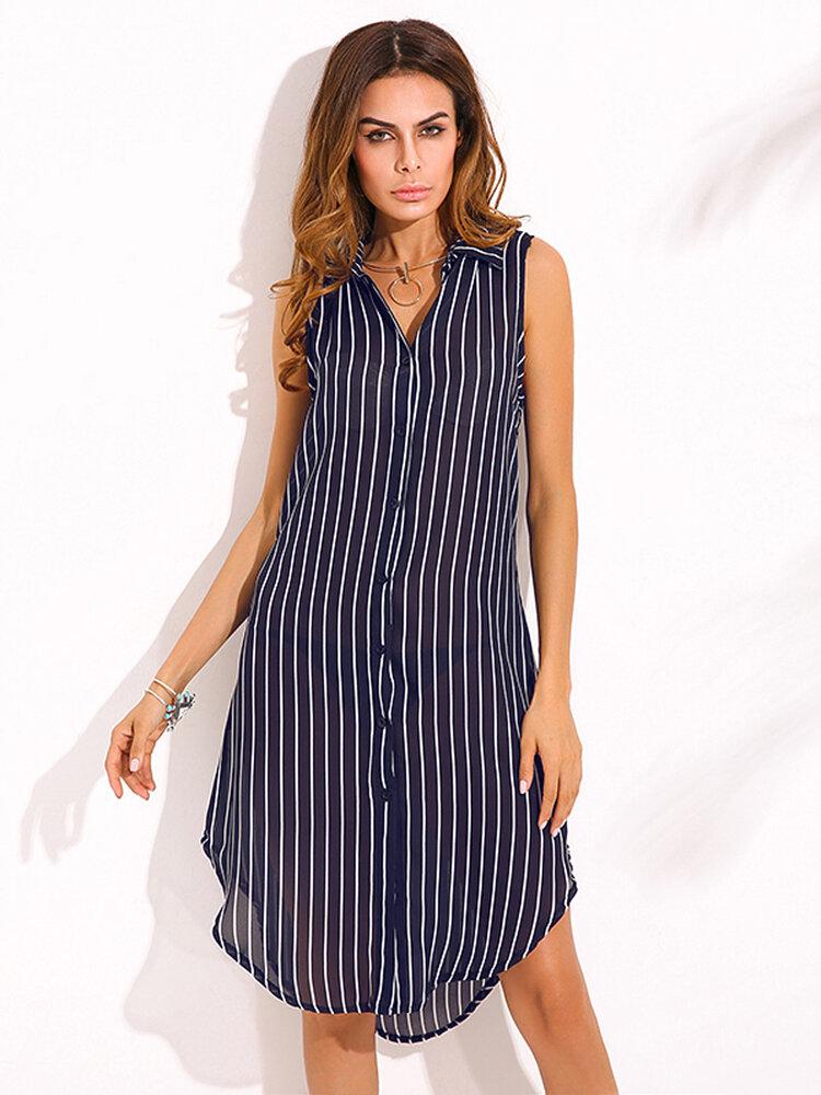 ZANZEA 캐주얼 여성 여름 셔츠 세로 줄무늬 프린트 버튼 민소매 블라우스