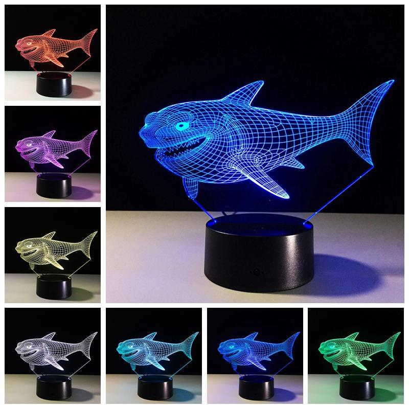 상어 3D 나이트 라이트 7 색 변경 LED 터치 스위치 USB 테이블 램프 장식을위한 선물