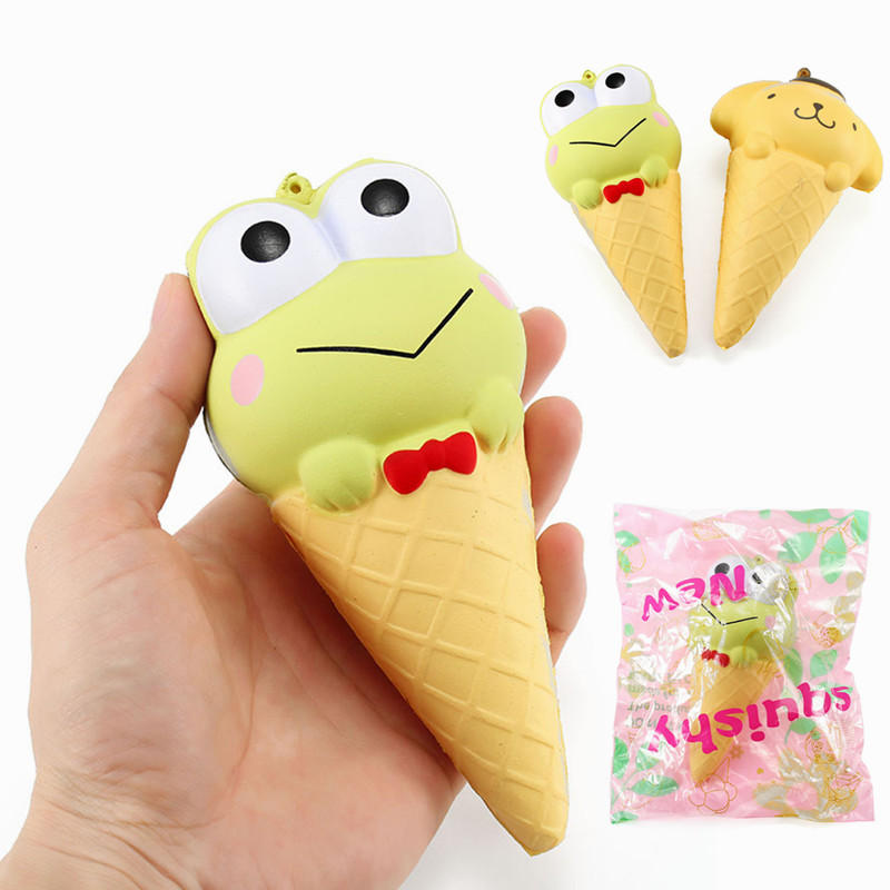 YunXin Squishy Ice Cream Cone Cartoon Frog Pudding Puppy Cute Collection Gift Decor Soft Toy