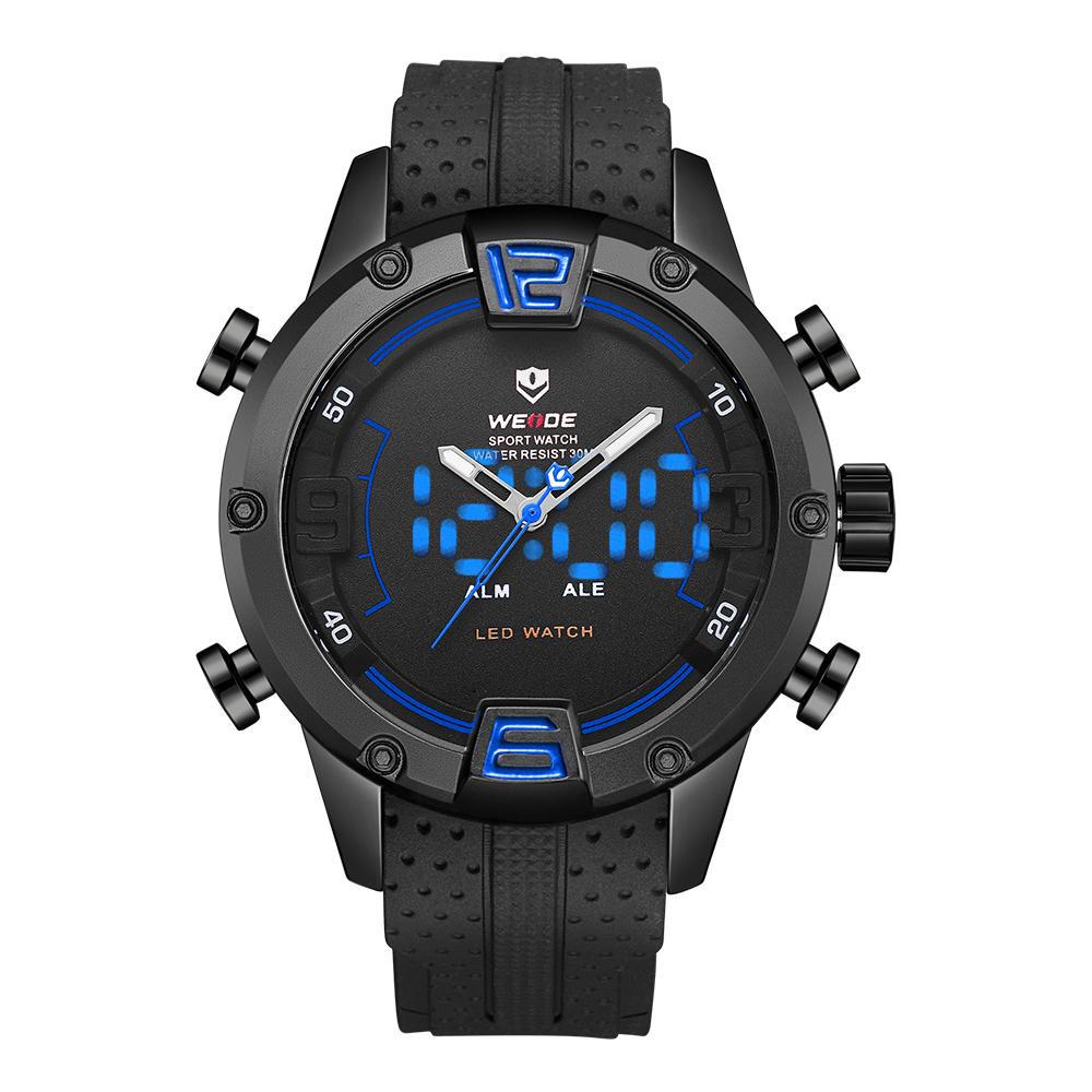 WEIDE WH7301 double affichage numérique montre bracelet en silicone confortable LED alarme sport montre