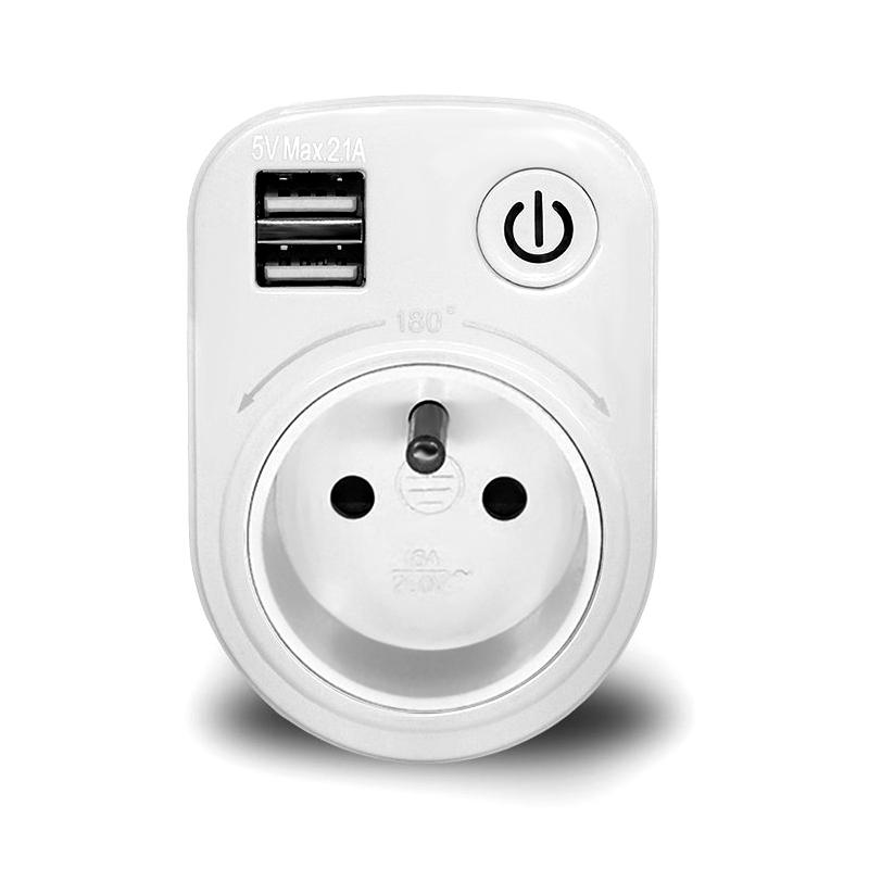 Loskii SH-50 Travel Plug in Electronic Smart Dual 5V 2.1A USB Ports Charging 180 Degree Rotation Socket Switch