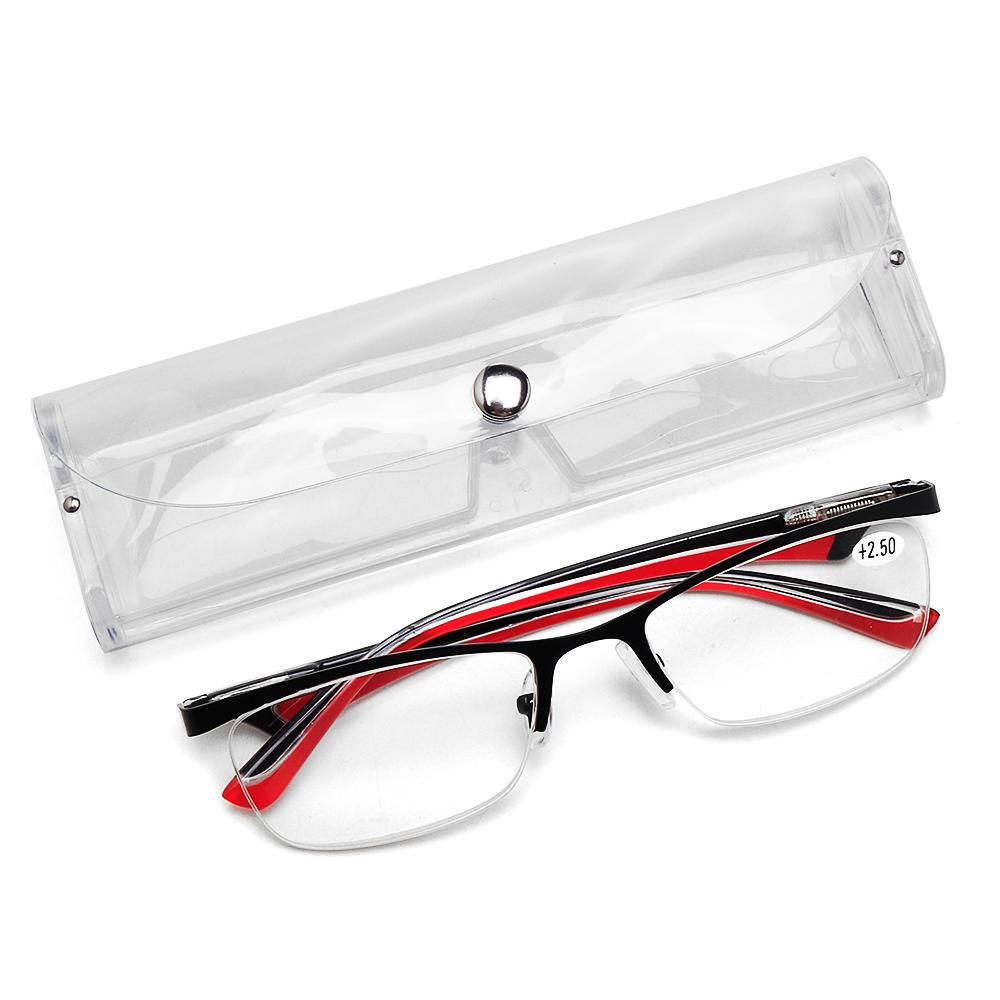 Men Women Retro Round Half-Frame Readers Reading Glasses Stylish Computer Glasses with Case
