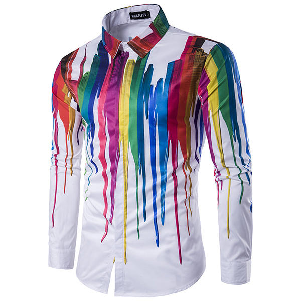a987d5742 Mens Colorful Personalized Ink 3D Printing Turn-down Collar Long-sleeve  Fashion Casual Shirt - M COD