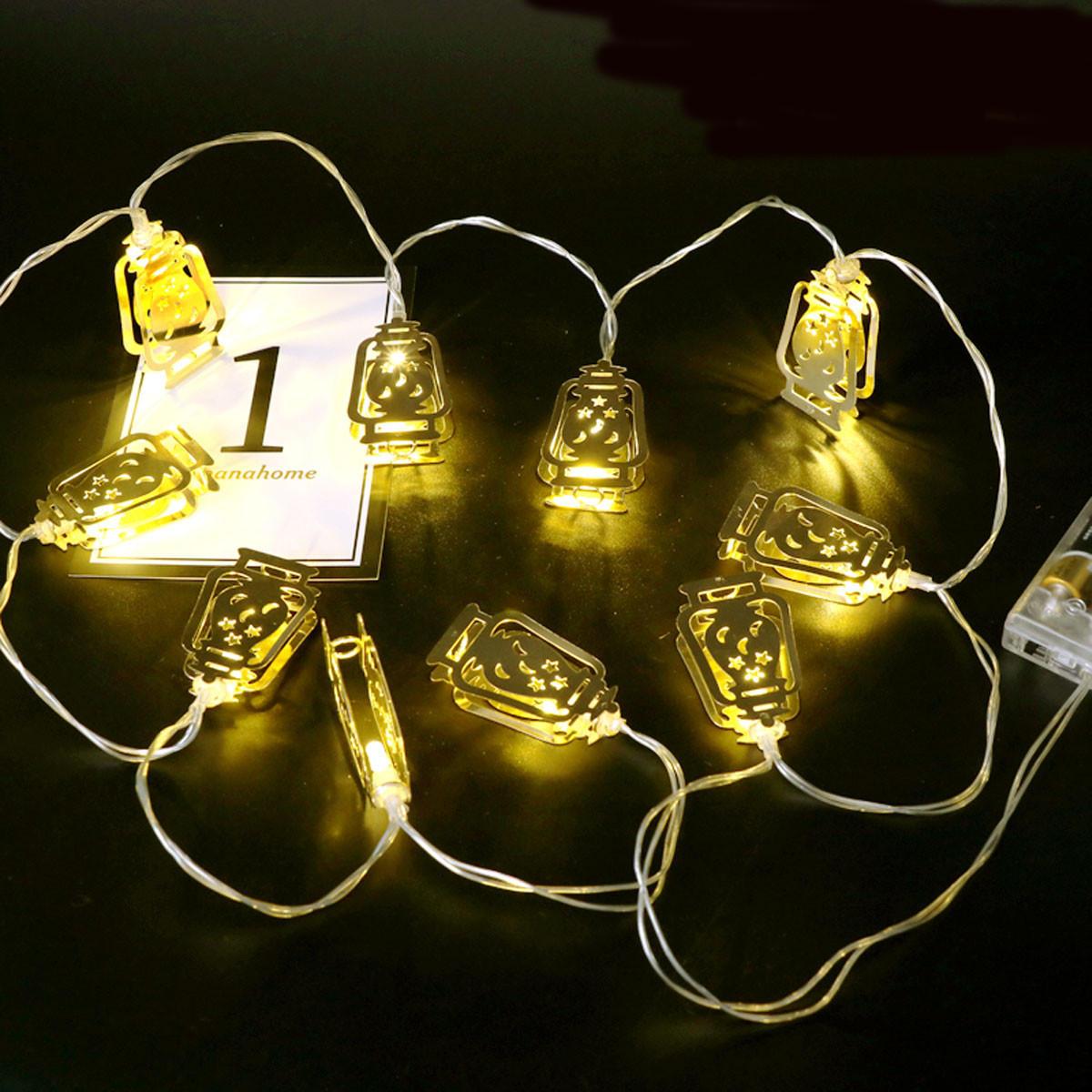 バッテリー駆動ゴールデンFanoosランタン10 LEDストリング妖精のホリデーライトパーティーホームデコレーションのため