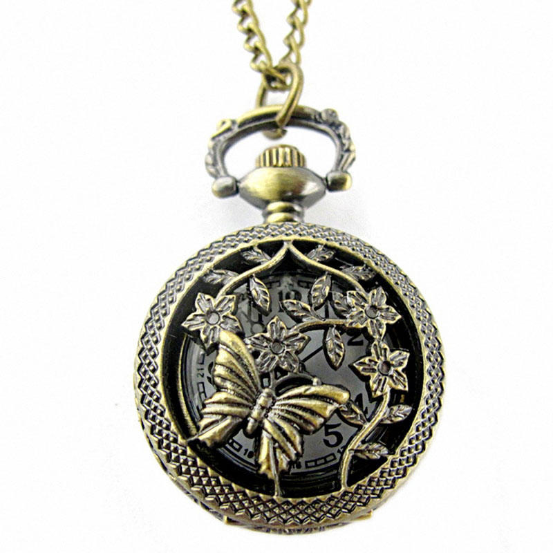 DEFFRUN Hollow Butterfly Flower Pattern Round Brown Quartz Pocket Watch