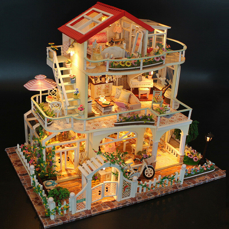 Hoomeda 13845 Être Enduring As The Universe DIY Dollhouse With Music Light Cover Miniature Model