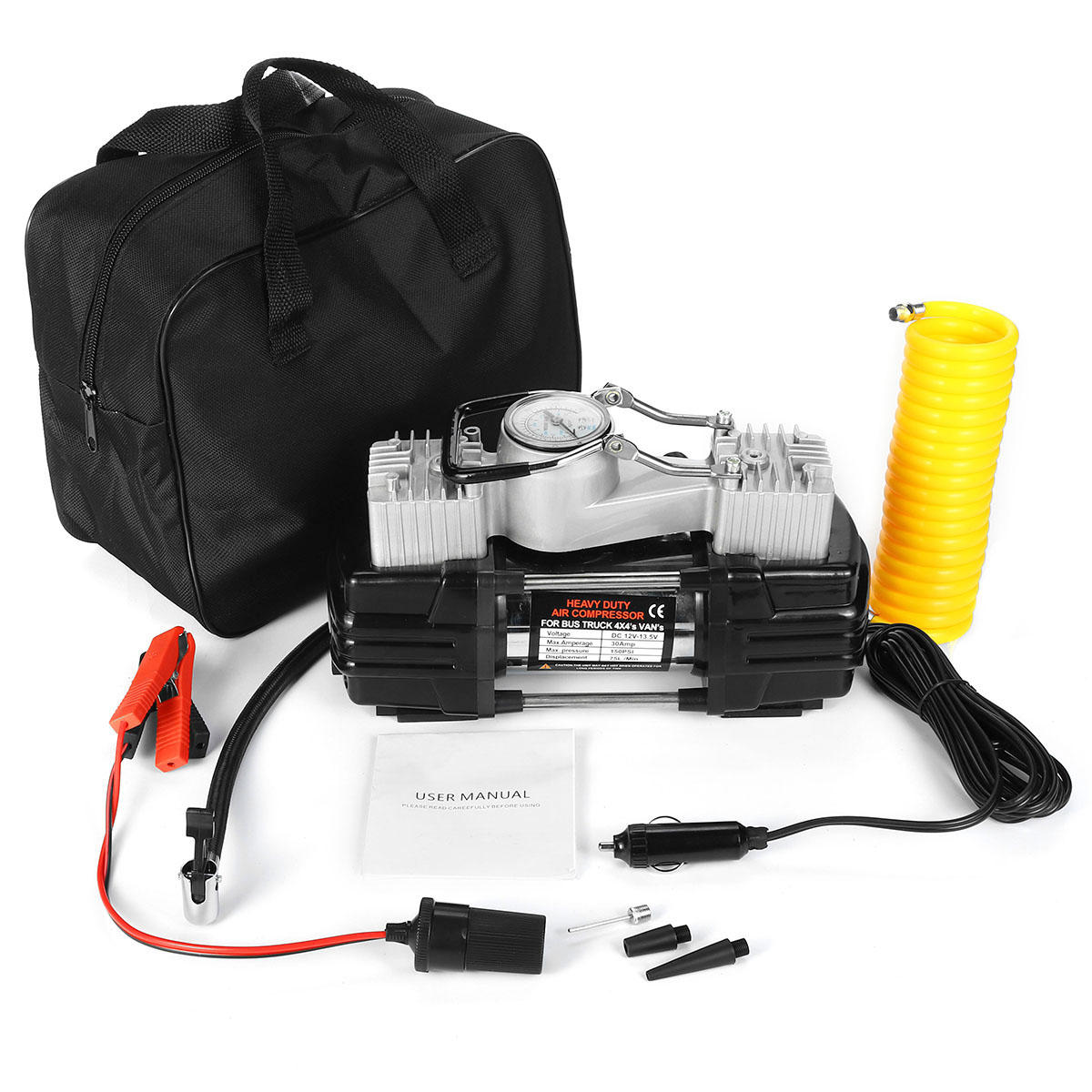280W 150PSI Double Cyclinder Car Tire Tyre Inflator Air Pump Compressor DC 12V