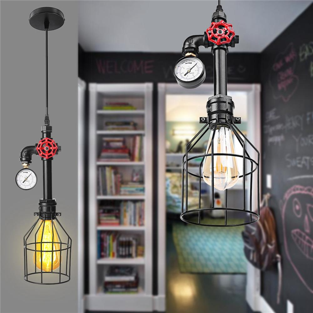 Wiring A Ceiling Lamp E27 Industrial Vintage Iron Cage Light Hang Wire Chandelier Pendant Ac85 220v