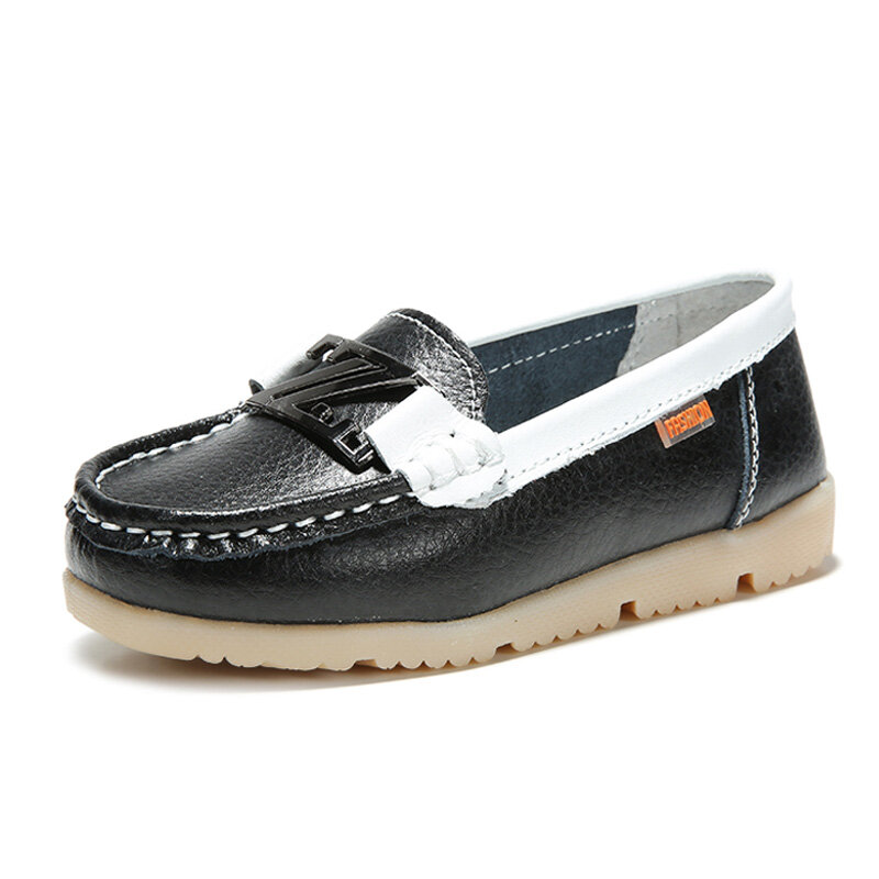 Children Casual Shoes Flats Soft Sole Leather Sneakers Slip on Loafers Boat Footwear