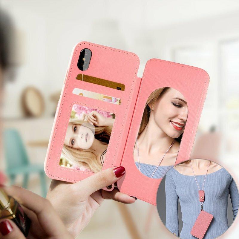 iPhone X için Ayarlanabilir Kordon ile Makyaj Aynası Kartı Yuvaları Manyetik Kickstand Kılıf