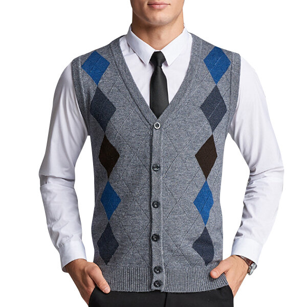 Men s British Style Woolen Knitted Cardigan Casual Diamond Pattern V-collar Sweater  Vest COD 69fec7085