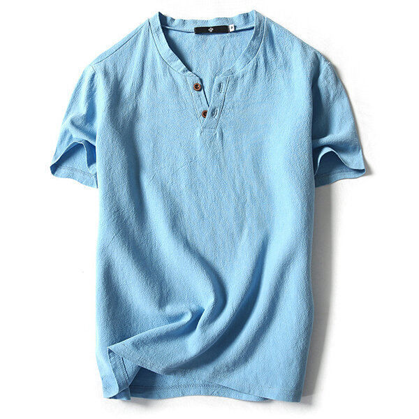 2339c2547 Summer Mens Fashion V-neck Short Sleeved T-shirts Casual Breathable Loose  Pure Color Flax Blouse Top - Grey Blue L COD