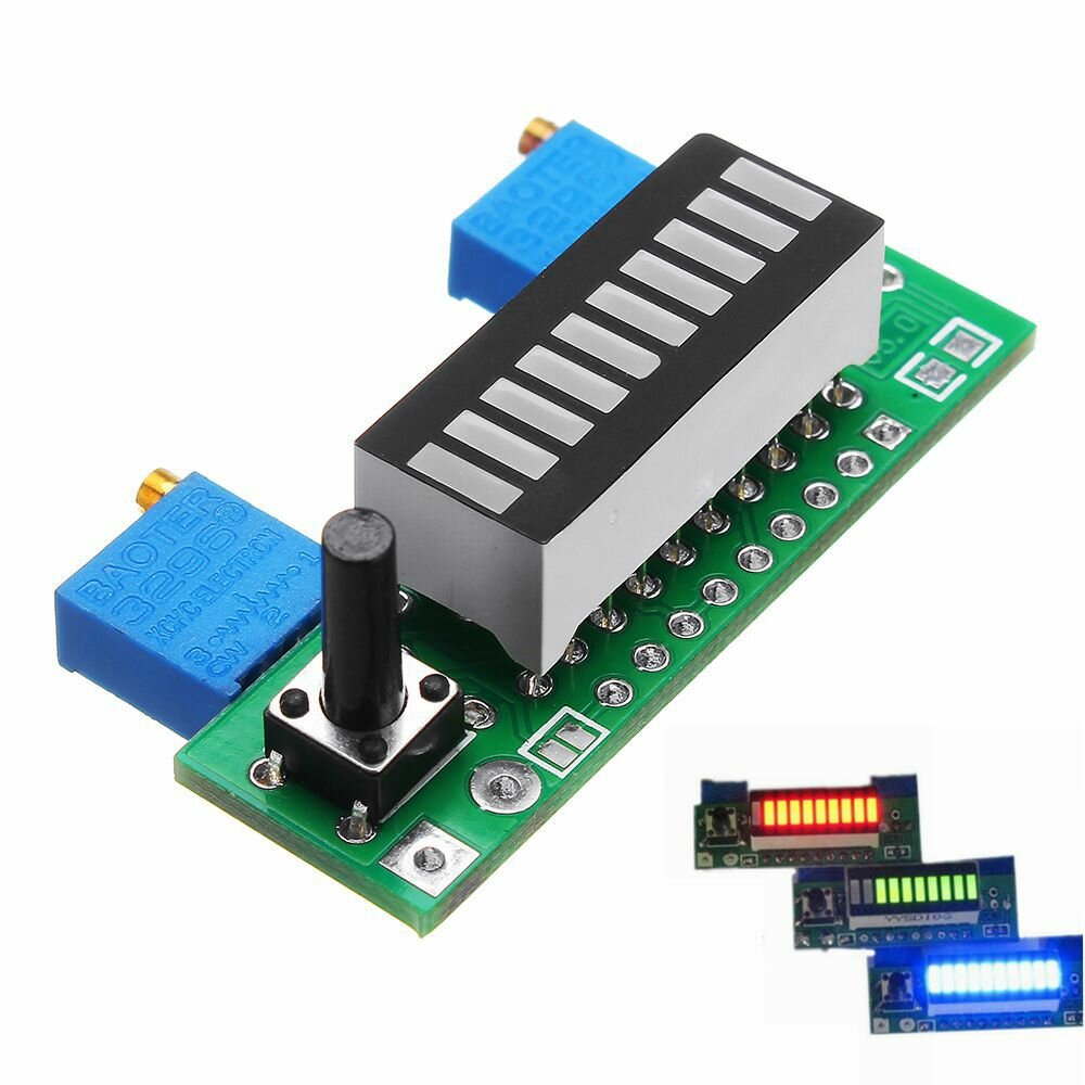 Green Electronic Diy Kits Led Display Board 3.7v Lithium Battery Capacity Indicator Module Led Power Level Tester 12v Automobiles & Motorcycles Atv,rv,boat & Other Vehicle