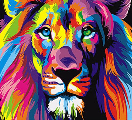 Çerçevesiz Renkli Aslan Animals Soyut Resim Diy Dijital Paintng Rakamlarla Modern Duvar Sanatı Resim Ev Duvar Sanatı İçin