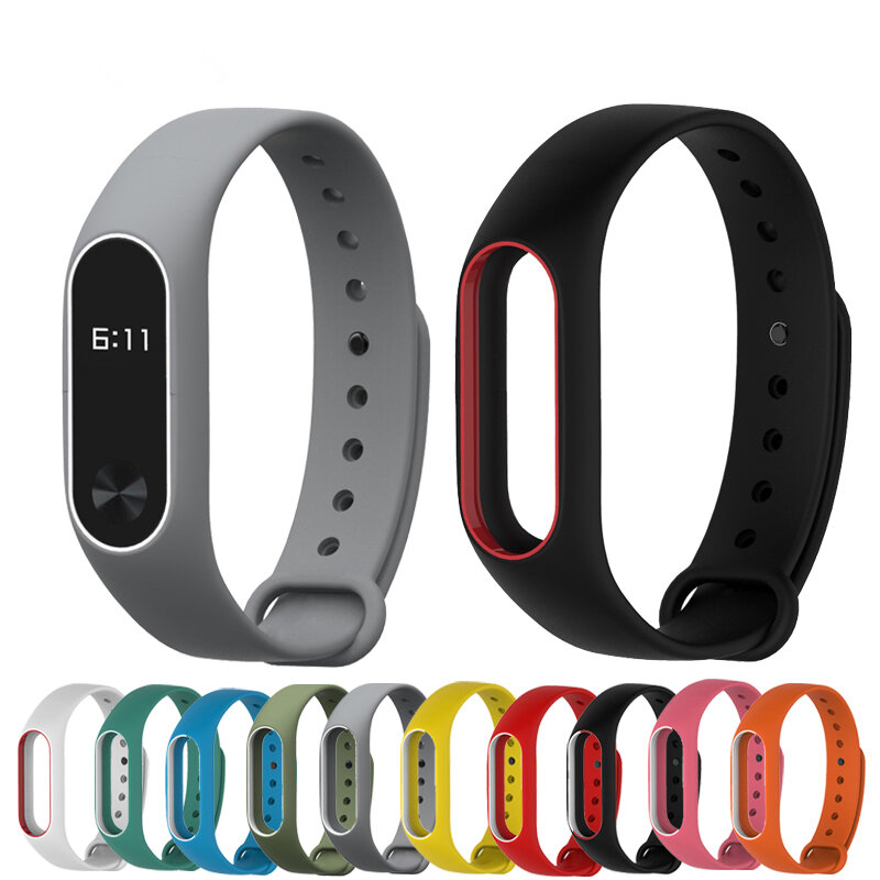 Bakeey™ Double Color Replacement Silicone Wrist Strap Watch Band for XIAOMI Miband 2