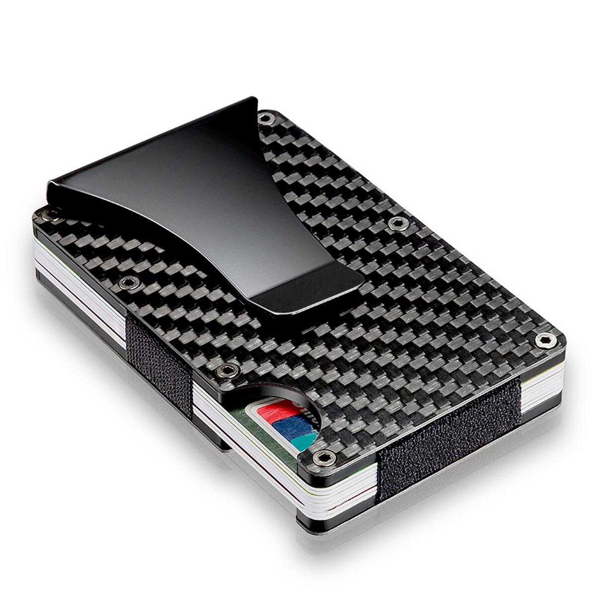 8bdeb9229fd Slim Carbon Fiber Credit Card Holder RFID Blocking Metal Wallet Money Clip  Case COD