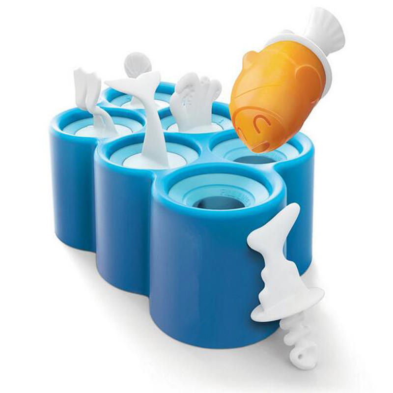KCASA KC-IT06 DIY 실리콘 6 구멍 물고기 모양 아이스크림 형 아이스 팝 스틱 제조 주방 도구
