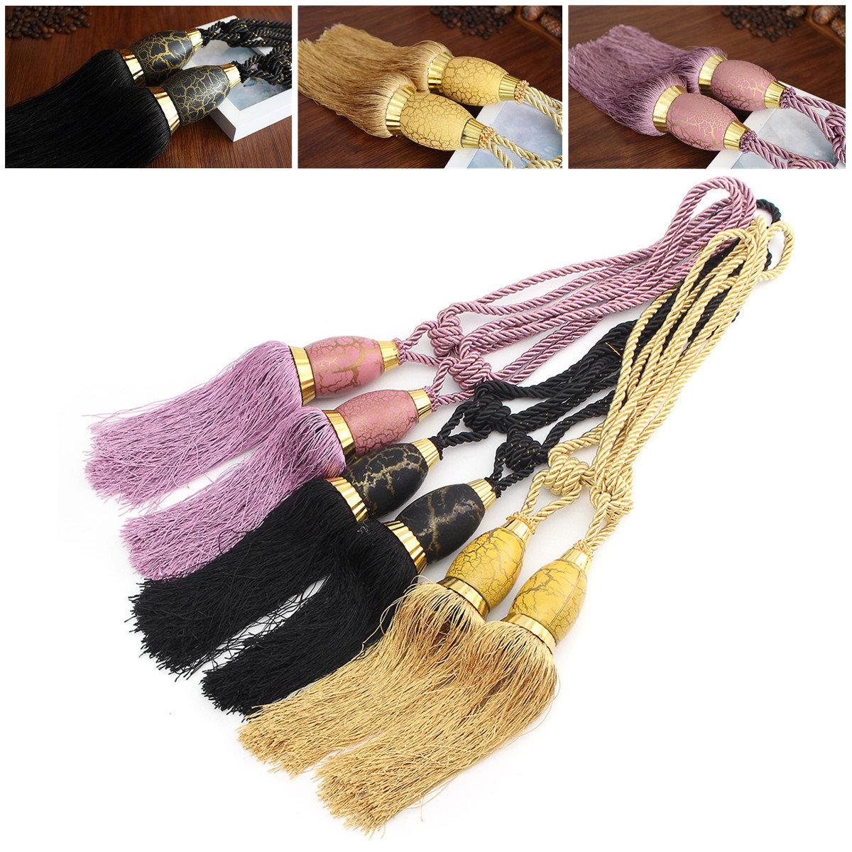 2Pcs Tassel Rope ผ้าม่านหน้าต่าง Tiebacks Buckles Tie แขวน Holdback จี้