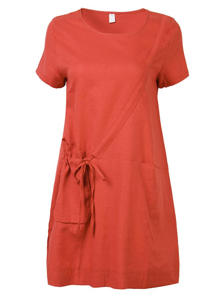 Vestido algodão mulheres vintage o-garganta manga curta solta