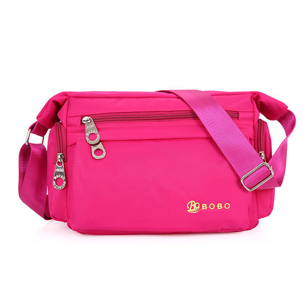 Women Front Pockets Light Nylon Shoulder Bags Casual Crossbody Bags Outdoor Sports Messenger Bags