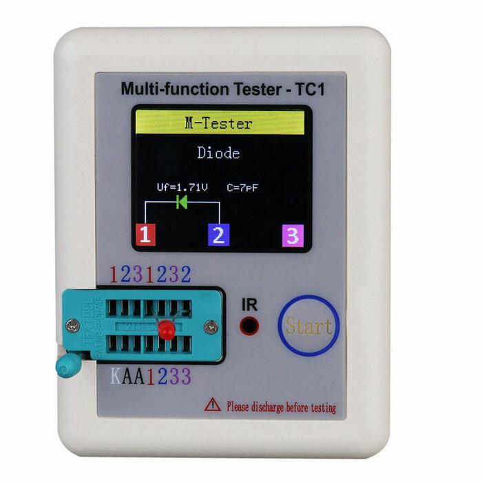 DANIU ™ LCR-TC1 1,8 Pouces Ecran Coloré Multifonctionnel TFT Rétro-éclairage Transisteur Testeur pour Diode Triode Résistance Transistor LCR ESR NPN PNP MOSFET