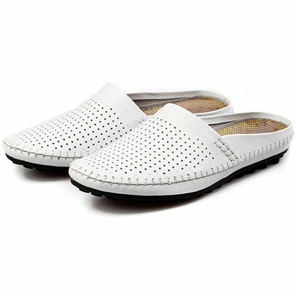 147a4392141 slipper men hollow out casual beach slip on in leather at Banggood