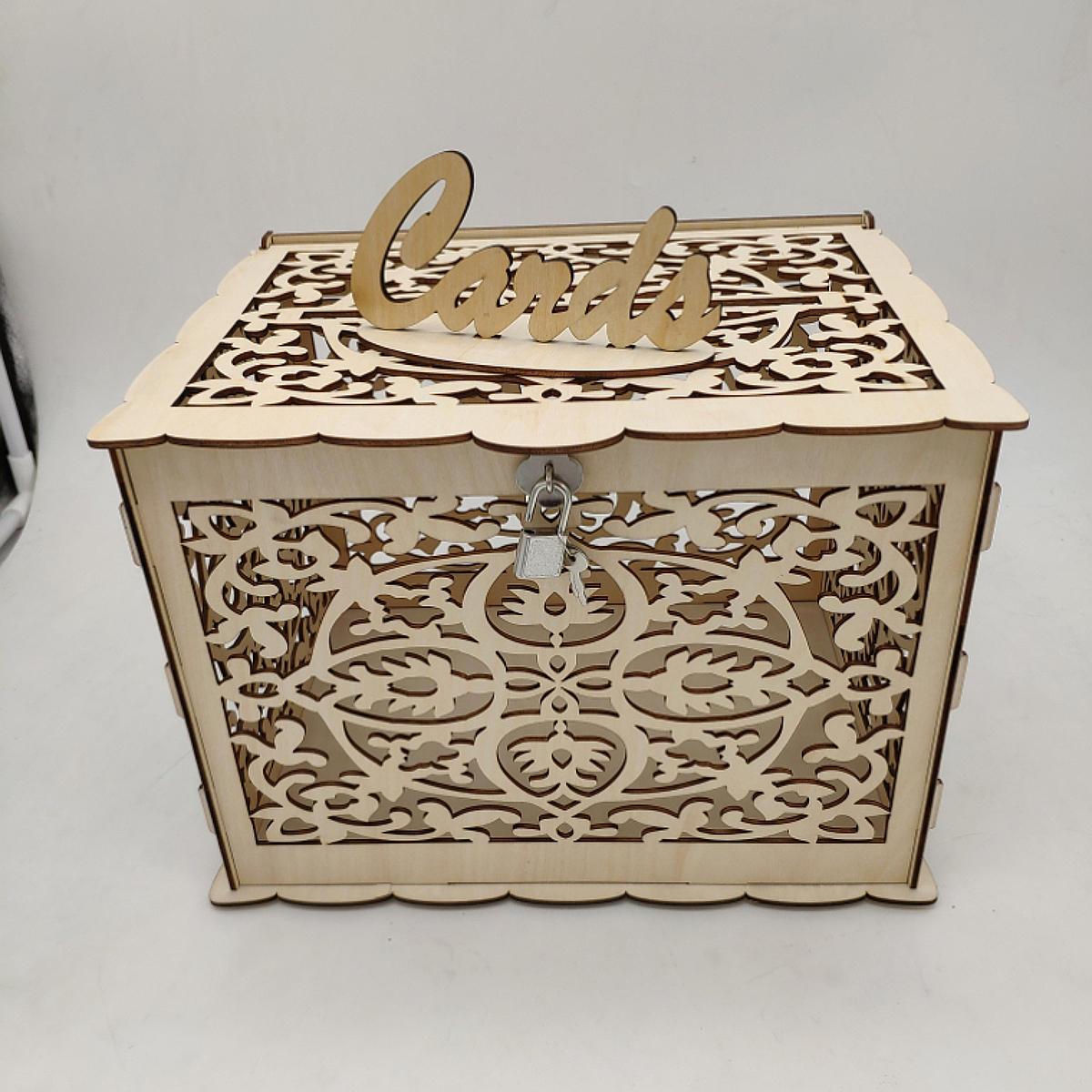 Lock Wedding DIY Money Box Gift Box Wooden Wedding Card Box Wedding Advice Box