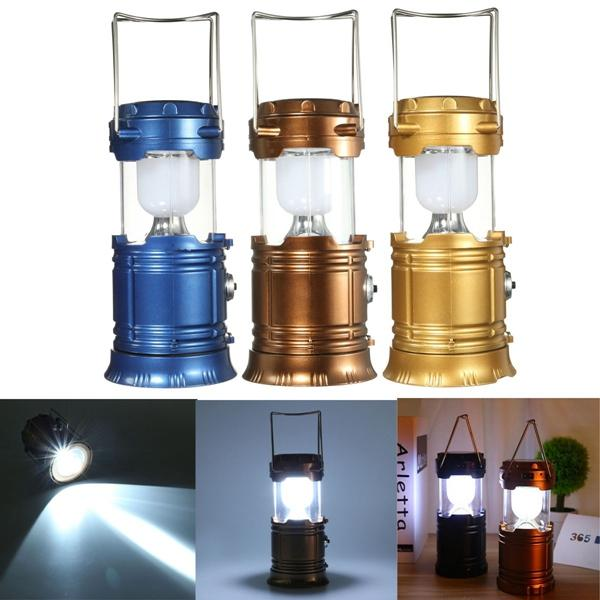 Solar Power LED USB Camping Lantern Light Tent Hiking Torch Rechargeable Lamp