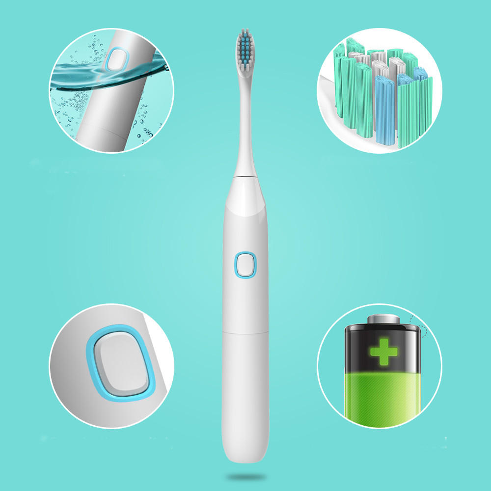IP65 Waterproof Sonic Rechargeable Electric Toothbrush 4 Replacement Soft Oral Brush Heads
