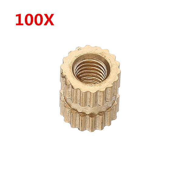 100Pcs M3 Brass Knurled Nuts Female Thread Round Insert Embedded Injection Molding Nuts 2 Heights